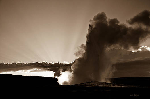 Old Faithful at Sunset 1 Sepia by Tom Wenger