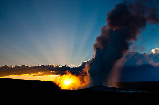 Old Faithful at Sunset 2 by Tom Wenger