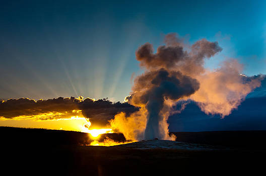 Old Faithful at Sunset 3 by Tom Wenger