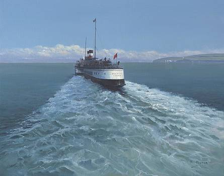 Old Harry Rocks with Paddle Steamer by Richard Picton