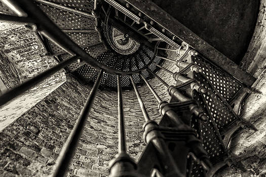 Old Lighthouse stairway by Dick Wood