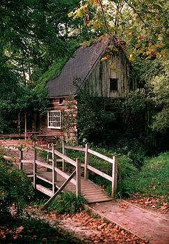 Old Log Cabin Wooden Footbridge by Vintage Images
