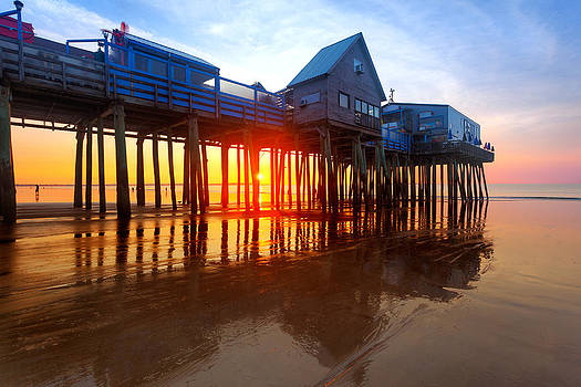 Jo Ann Snover - Old Orchard Beach pier at sunrise