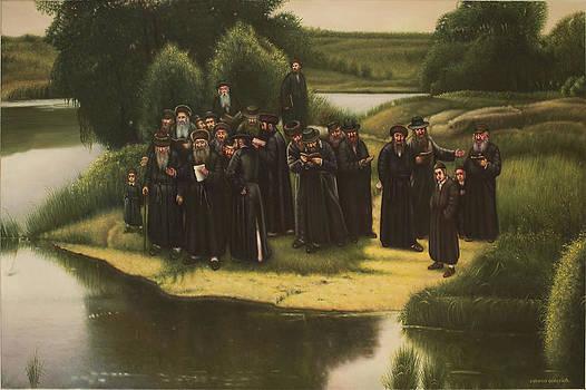 Old Poland. Tashlich prayer on Vistula River. by Eduard Gurevich