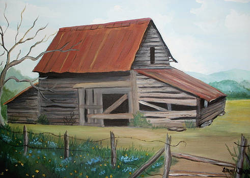 Old red roofed barn by Glenda Barrett