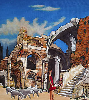 Old Ruins Flower Girl And Sheep by William Cain