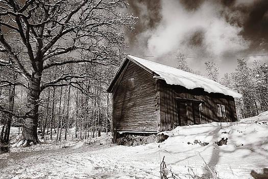 Old Rural Barn In A Winter Landscape by Christian Lagereek