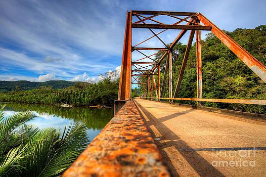 Old rusty bridge in countryside by Fototrav Print