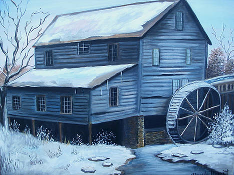 Old snow covered Mill by Glenda Barrett