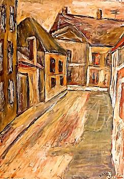 Ion vincent DAnu - Old street in the old transylvanian city