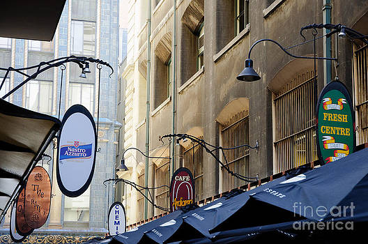David Hill - Old-style signs above a Melbourne laneway