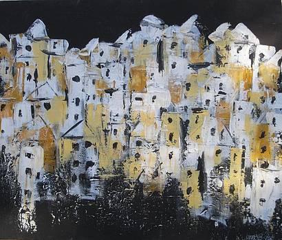 Old Town on Black by Lynne Bishop