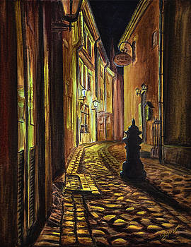 Gynt Art - Old Town street at night