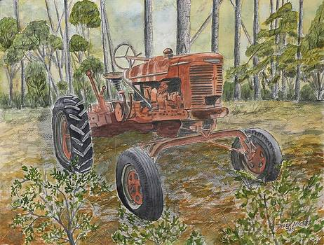 Old Tractor Vintage Art by Derek Mccrea
