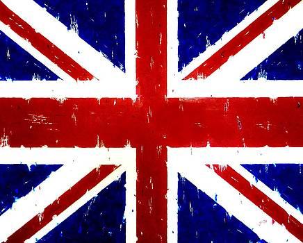 Old United Kingdom Flag original acrylic palette knife painting by Georgeta Blanaru
