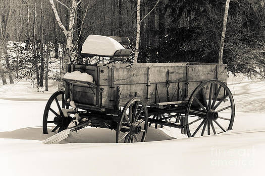 Old wagon with snow by Miro Vrlik