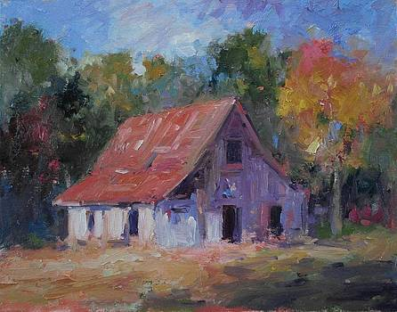 Old white barn by R W Goetting