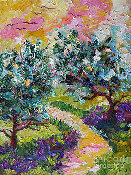 Ginette Callaway - Impressionist Olive Trees and Lavender Path