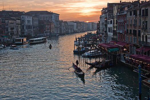 On a Gondola at Sunset by Mattia Oselladore