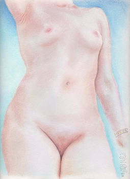 On the Artists Pedestal a Statuesque Female Nude Torso with Open Sky Behind by Scott Kirkman
