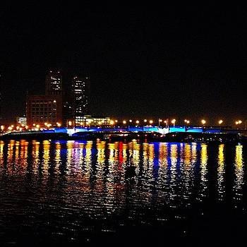 On The Bridge. #lights #city #sky by J Amadei