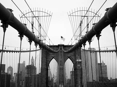 On The Brooklyn Bridge Black and White by Donna Betancourt