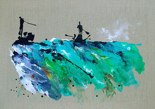 On The River Sports Art Abstract Art by Catherine Jeltes