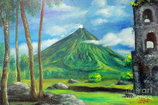 On the spot painting of Mayon in Cagsawa by Manuel Cadag