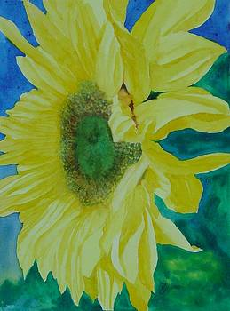 One Bright Sunflower Colorful Original Art Floral Flowers Artist K. Joann Russell Decor Art  by Elizabeth Sawyer
