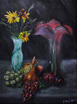 Onion and Red Vase by Keith Zudell