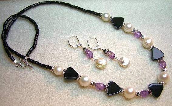Onyx Pearl Amethyst Pewter Necklace and Earring Set  by Ann Mooney