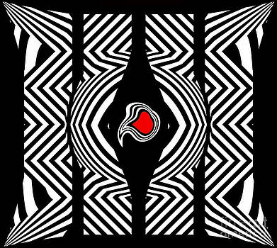 Op Art Black White Red Abstract No.189. by Drinka Mercep