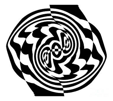 Op Art Black White  Abstract No.199. by Drinka Mercep