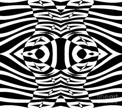 Op Art Black White Geometric Pattern No.265. by Drinka Mercep