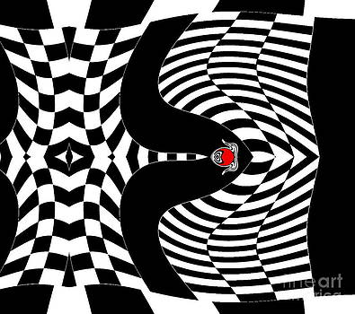 Op Art Black White Red Geometric Abstract Art No.140. by Drinka Mercep