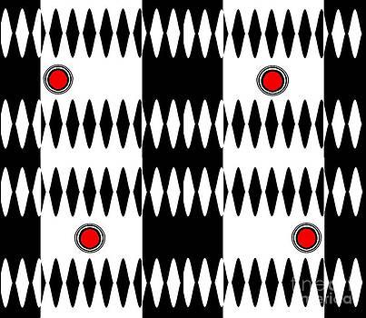 Drinka Mercep - Op Art Black White Red Geometric Pattern Print No.238.