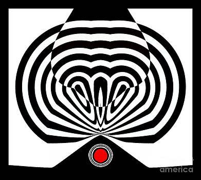 Drinka Mercep - Op Art Black White Red Minimalist Art No.146