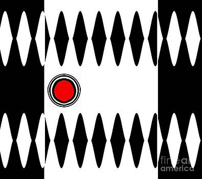 Op Art Black White Red Minimalist Geometric Abstract Print No.277 by Drinka Mercep