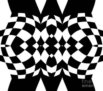 Op Art Geometric Black White Pattern Print No.214 by Drinka Mercep