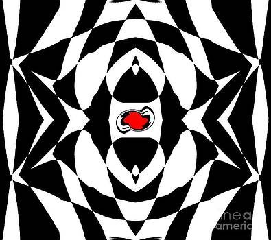 Op Art Geometric Black White Red Abstract No.151. by Drinka Mercep