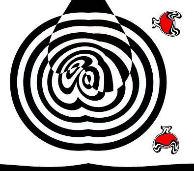 Op Art Geometric Black White Red Abstract No.202. by Drinka Mercep