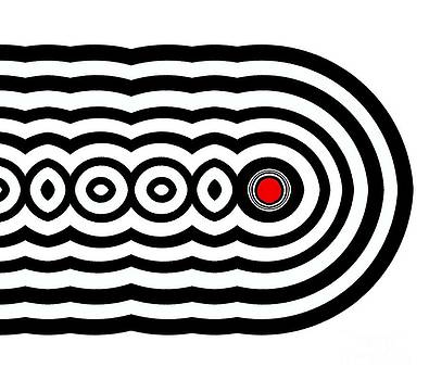 Drinka Mercep - Op Art Geometric Black White Red Abstract No.226.