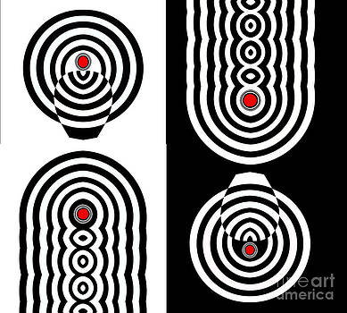Drinka Mercep - Op Art Geometric Black White Red Abstract Print No.11