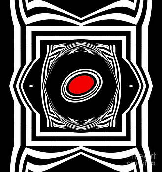 Op Art Geometric Black White Red Abstract Print No.33. by Drinka Mercep