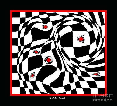 Drinka Mercep - Op Art Geometric Black White Red Abstract Print No.70.