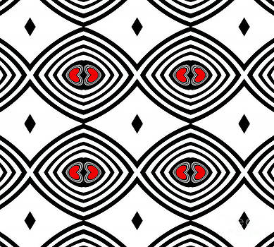 Drinka Mercep - Op Art Geometry Black White Red Pattern No.274.