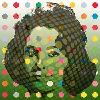 Op Art Liz With Multi-Coloured Dots 2 by Ken Surman