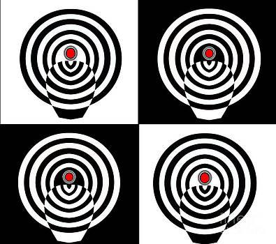 Drinka Mercep - Op Art Minimalism Geometric Black White Red Abstract No.212
