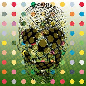 Op Art Skull With Multicoloured Dots by Ken Surman