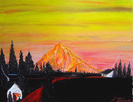 Orange Dusk Of Mount Hood  by Portland Art Creations